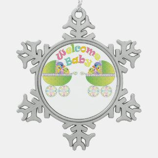 Welkom Baby Tin Sneeuwvlok Ornament