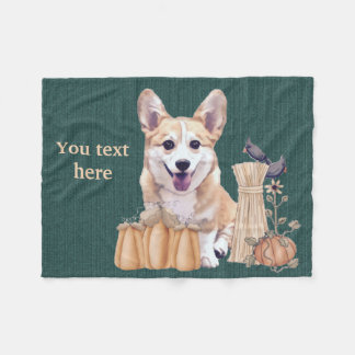 Wels Puppy Corgi in de Herfst Fleece Deken