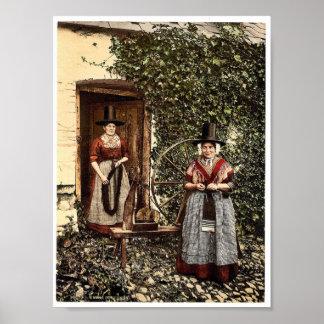 Wels spinners en spinnewiel, Wales zeldzame Phot Poster