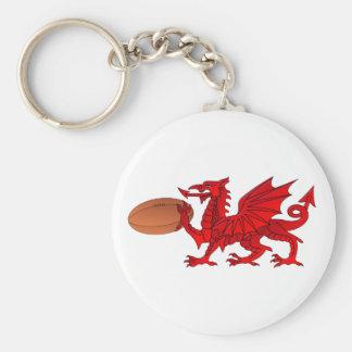 Welse Draak met een Bal Keychain van het Rugby Sleutelhanger