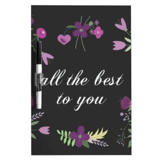 Wens u Alle Beste - de Paarse Druk van de Bloem Dry Erase Whiteboard
