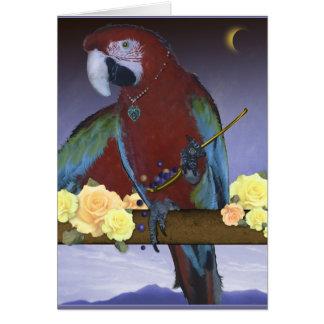 Wenskaart, papegaai in het maanlicht kaart
