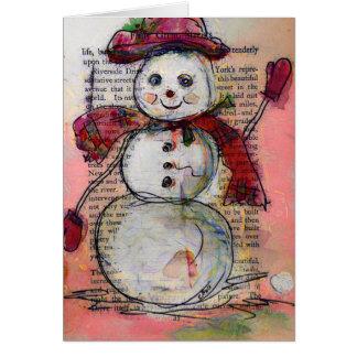 Wenskaart, Sneeuwman met Rood pet en sjaal, Art. Wenskaart