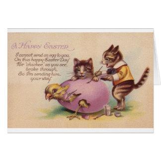 Wenskaart van Pasen van de vintage Kat het Gelukki