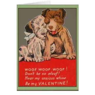 Wenskaart van Valentijn van het puppy het Vintage