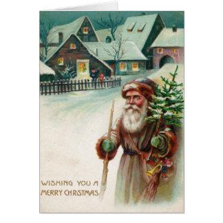 Wenskaarten van Kerstmis van de vintage Kerstman