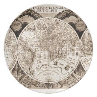 wereld kaart 1600 Latijnse originele black&white Diner Bord