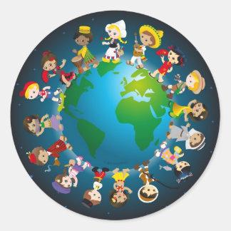 Wereld kidz ronde sticker