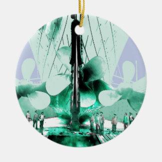 Werklieden naast Kolossale Propellers Rond Keramisch Ornament