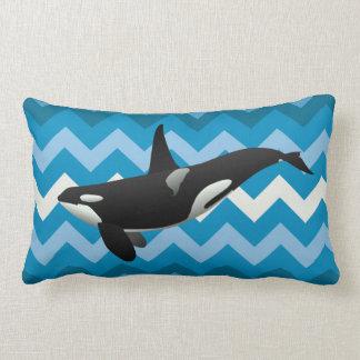 Werpt de Blauwe Chevron van de Orka van de orka Lumbar Kussen