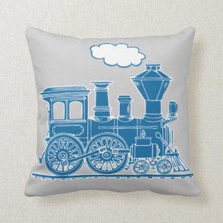 Werpt het de trein knettergekke blauwe grijs van sierkussen
