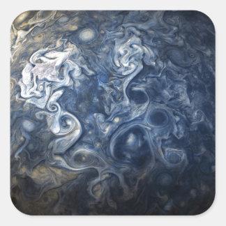 Wervelende Blauwe Wolken van de Nok van Jupiter Vierkante Sticker
