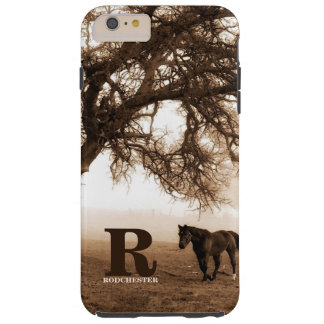 Western Sepia Paard en Eiken Boom met Monogram Tough iPhone 6 Plus Hoesje