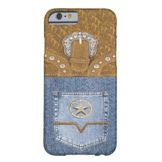 """Westerne iPhone 6 van de """"jeans & van het Leer"""" Barely There iPhone 6 Hoesje"""