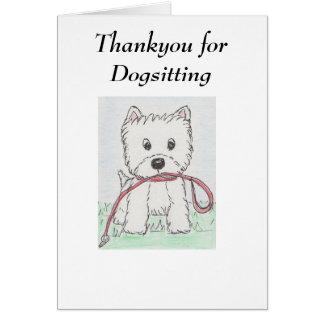 Westie dank u voor Dogsitting Kaart