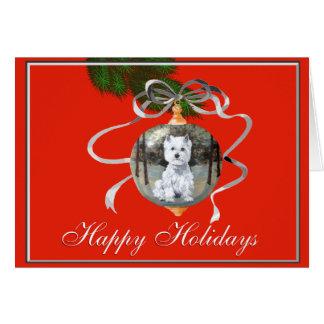 Westie in een Ornament van de Vakantie Briefkaarten 0