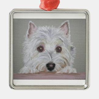 Westie Zilverkleurig Vierkant Ornament