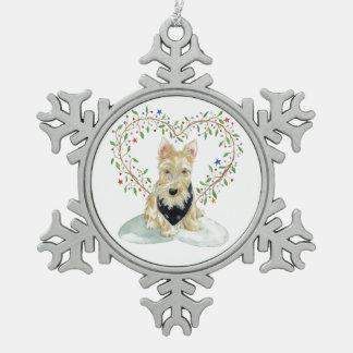 Wheaten Scottie met hart Tin Sneeuwvlok Ornament