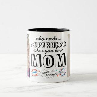Who heeft een Superhero nodig wanneer u Mamma hebt Tweekleurige Koffiemok