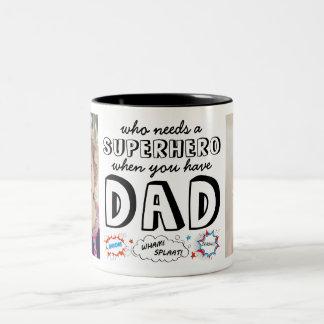 Who heeft een Superhero nodig wanneer u Papa hebt Tweekleurige Koffiemok