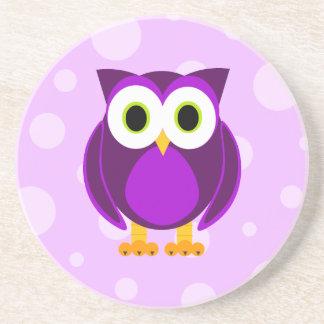 Who? Mevr. Purple Owl Bubble Background Zandsteen Onderzetter