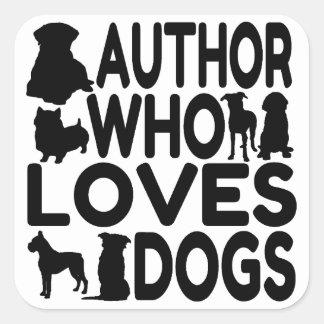 Who van de auteur houdt van Honden Vierkante Sticker