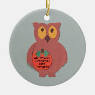 Who Whoos Weinig Pompoen van de Oma Rond Keramisch Ornament