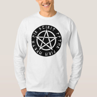 Wiccan Zwarte Runen- Pentagram T Shirt