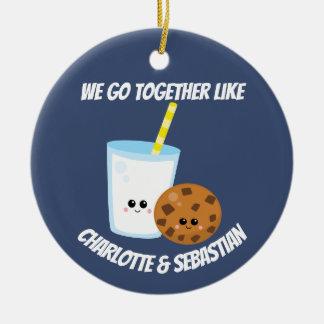 Wij gaan samen als gepersonaliseerde melk en rond keramisch ornament