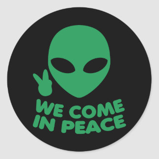 Wij komen in de Vreemdeling van de Vrede Ronde Sticker