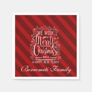 Wij wensen u een Vrolijk Kerstmis gepersonaliseerd Papieren Servetten