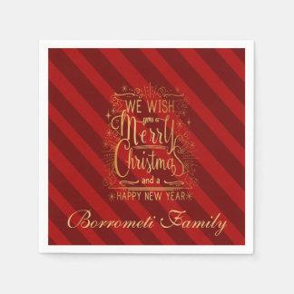 Wij wensen u een Vrolijk Kerstmis gepersonaliseerd Wegwerp Servet