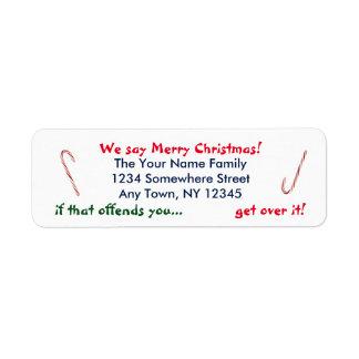 Wij zeggen Vrolijke Kerstmis Etiket