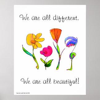 Wij zijn allen Verschillende & Mooie Diversiteit Poster
