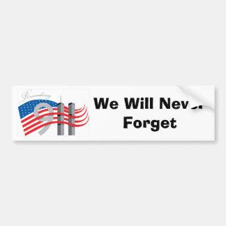 Wij zullen nooit Symbool 9-11 vergeten Bumpersticker