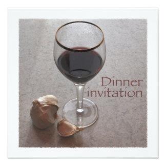 wijn en knoflookdineruitnodiging kaart