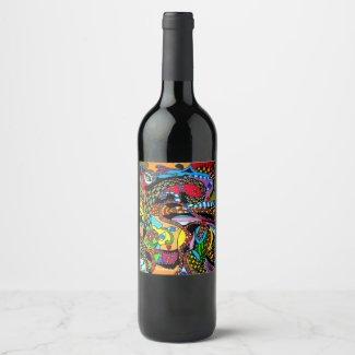 Wijn Happy-Art Wijn Etiket