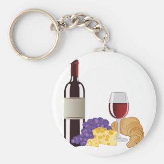 Wijn & Kaas Basic Ronde Button Sleutelhanger