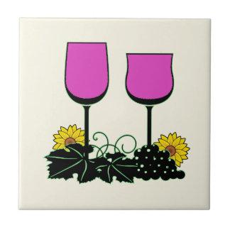 Wijn & Zonnebloemen Tegeltje
