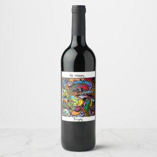 Wijnetiket 'Happy-Art' Wijn Etiket