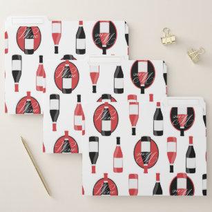 Wijnflessen zijn rood en zwart documentenmap