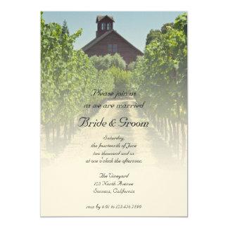 Wijngaard en de Rustieke Rode Uitnodiging van het