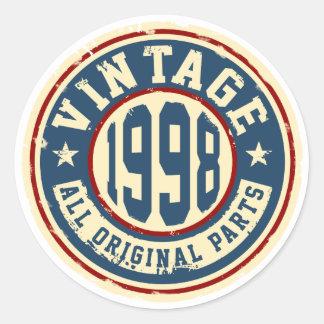 Wijnoogst 1998 Alle Originele Delen Ronde Sticker