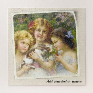 Wijnoogst die schilderen: de meisjes voeden een legpuzzel