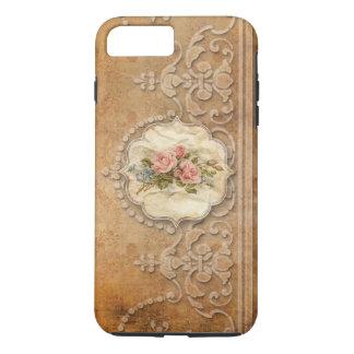 Wijnoogst In reliëf gemaakte Gouden Scrollwork en iPhone 8/7 Plus Hoesje