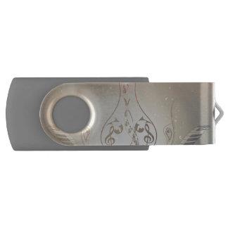 Wijnoogst, sleutel en piano met Damasten USB Stick