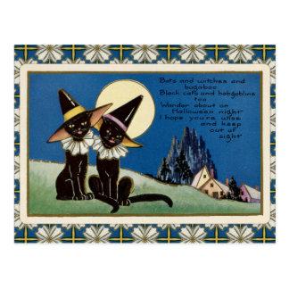 Wijnoogst Twee Zwarte Katten Halloween Briefkaart