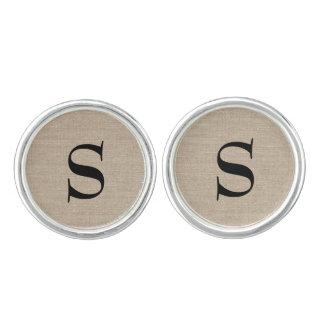 Wijnoogst van de het linnenjute van het monogram manchetknopen