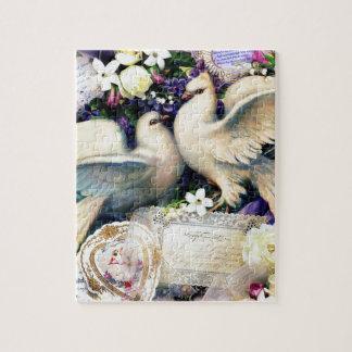 Wijnoogst van twee de Witte Bloemen van de Vogels Puzzel
