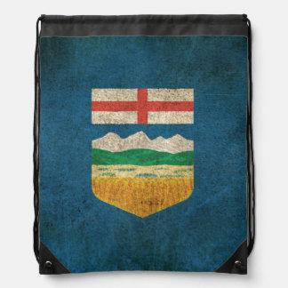 Wijnoogst Verontruste Vlag van Alberta Trekkoord Rugzakje